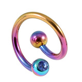 Titanium Double Jewelled Spirals 1.6mm (Coloured metal) 12mm, Rainbow, Sapphire Blue
