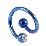 Titanium Double Jewelled Spirals 1.2mm (Coloured metal) 10mm, Blue, Crystal Clear