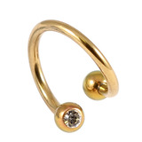 Titanium Double Jewelled Spirals 1.2mm (Coloured metal) 10mm, Gold, Crystal Clear