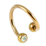 Titanium Double Jewelled Spirals 1.2mm (Coloured metal) 10mm, Gold, Crystal AB