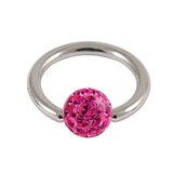 Steel BCR with Smooth Glitzy Ball 1.6mm, 6mm, Fuchsia