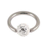 Steel BCR with Smooth Glitzy Ball 1.6mm, 6mm, Crystal Clear