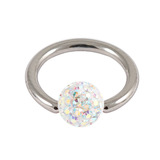 Steel BCR with Smooth Glitzy Ball 1.6mm, 6mm, Crystal AB
