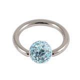 Steel BCR with Smooth Glitzy Ball 1.6mm, 6mm, Light Blue