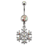 Belly Bar - Jewelled Snowflake 1.6mm x 10mm (Standard Size) / Crystal AB