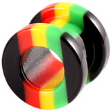 Acrylic Rasta Flesh Tunnel 10