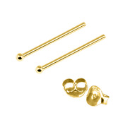 Gold Plated Silver Ear Studs with Ball GP-ST4 GP-ST5 GP-ST6 GP-ST7 GP-ST21 GP-ST23 GP-ST 4. 1.0mm Ball. 1 Pair.