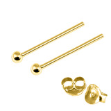 Gold Plated Silver Ear Studs with Ball GP-ST4 GP-ST5 GP-ST6 GP-ST7 GP-ST21 GP-ST23 GP-ST 6. 1.5mm Ball. 1 Pair.