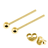 Gold Plated Silver Ear Studs with Ball GP-ST4 GP-ST5 GP-ST6 GP-ST7 GP-ST21 GP-ST23 GP-ST 7. 2mm Ball. 1 Pair.