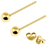 Gold Plated Silver Ear Studs with Ball GP-ST4 GP-ST5 GP-ST6 GP-ST7 GP-ST21 GP-ST23 GP-ST 23. 4mm Ball. 1 Pair.