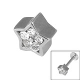Steel Threaded Attachment - 1.2mm and 1.6mm Cast Steel Jewelled Star 1.2 / Crystal Clear (Attachment only)