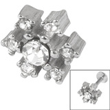 Steel Threaded Attachment - 1.2mm and 1.6mm Cast Steel Jewelled Snowflake 1.2 / Crystal Clear (Attachment only)