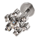 Steel Labret with Cast Steel Jewelled Snowflake 1.6 / 6 / Crystal Clear