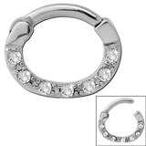 Steel Septum Clicker Ring Jewelled 7 Gem Steel with 7 small jewels. / 11mm (1.6mm gauge)