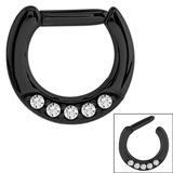 Black Steel Septum Clicker Ring Jewelled 5 Gem Black Steel with 5 small jewels.