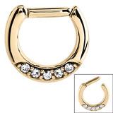 Zircon Steel Septum Clicker Ring Jewelled 5 Gem (Gold colour PVD) Zircon Steel with 5 small jewels.