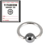 Sterile Titanium BCR with Hematite Bead 1.2mm x 8mm / Mirror Polish