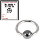 Sterile Titanium BCR with Hematite Bead 1.2mm x 10mm / Mirror Polish