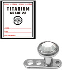 Sterile Titanium Dermal Anchor with Jewelled Disk Top 2.0mm / Clear