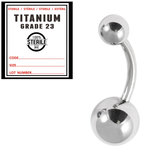 Sterile Titanium Belly Bar 1.6mm with 8-5 balls 1.6mm x 10mm / 5mm and 8mm