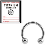 Sterile Titanium Circular Barbells (CBB) (Horseshoes) 1.2mm, 10mm, Mirror Polish