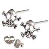 Silver Studs - Silver Skull and Crossbones Earrings Skull and Crossbones Ear Studs - 1 pair with butterflies