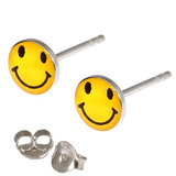 Silver Studs - Silver Smiley Earrings Yellow Smiley Face Ear Studs - 1 pair with butterflies
