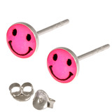 Silver Studs - Silver Smiley Earrings Pink Smiley Face Ear Studs - 1 pair with butterflies