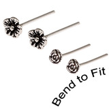 Silver Studs - Silver Flower Nose Studs Small Flower Nose Studs. 4 Studs (2 pairs - 1 tiny flower pair, 1 small flower pair)