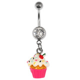 Belly Bar - Cupcake 1.6mm, 10mm(most popular size), Crystal Clear