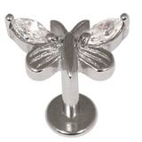 Steel Labret with Jewelled Butterfly 1.2mm and 1.6mm 1.6mm, 10mm