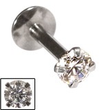 Steel Internally Threaded Claw Set Jewelled Labrets 1.2mm Crystal Clear / 10 / 3