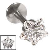 Steel Internally Threaded Claw Set Star Jewelled Labrets 1.2mm Crystal Clear / 6 / 5