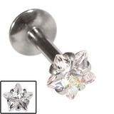 Steel Internally Threaded Claw Set Star Jewelled Labrets 1.2mm Crystal Clear / 6 / 4