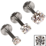 Steel Triple Piercing - Internally Threaded Claw Set Jewelled Labrets 1.2mm Crystal Clear / 3 labrets at 1.2x6mm / 2.5, 3, 4mm