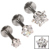 Steel Triple Piercing - Internally Threaded Claw Set Jewelled Star Labrets 1.2mm Crystal Clear / 3 labrets at 1.2x6mm / 3, 4, 5mm
