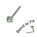 Crystal Nose Stud (Bend to fit) (ST11 ST12 ST13) 1.5mm Gem, Aqua AB, Single Bend-to-Fit Stud (ST11)