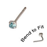 Crystal Nose Stud (Bend to fit) (ST11 ST12 ST13) 1.5mm Gem, Light Blue, Single Bend-to-Fit Stud (ST11)