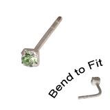 Crystal Nose Stud (Bend to fit) (ST11 ST12 ST13) 1.5mm Gem, Light Green, Single Bend-to-Fit Stud (ST11)