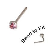 Crystal Nose Stud (Bend to fit) (ST11 ST12 ST13) 1.5mm Gem, Pink, Single Bend-to-Fit Stud (ST11)