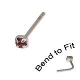 Crystal Nose Stud (Bend to fit) (ST11 ST12 ST13) 1.5mm Gem, Purple, Single Bend-to-Fit Stud (ST11)