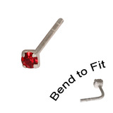 Crystal Nose Stud (Bend to fit) (ST11 ST12 ST13) 1.5mm Gem, Red, Single Bend-to-Fit Stud (ST11)