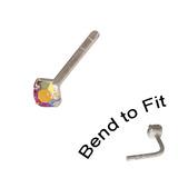 Crystal Nose Stud (Bend to fit) (ST11 ST12 ST13) 1.5mm Gem, Rose AB, Single Bend-to-Fit Stud (ST11)