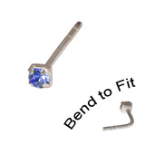 Crystal Nose Stud (Bend to fit) (ST11 ST12 ST13) 1.5mm Gem, Sapphire Blue, Single Bend-to-Fit Stud (ST11)