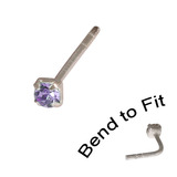 Crystal Nose Stud (Bend to fit) (ST11 ST12 ST13) 1.5mm Gem, Tanzanite, Single Bend-to-Fit Stud (ST11)