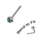 Crystal Nose Stud (Bend to fit) (ST11 ST12 ST13) 1.5mm Gem, Turquoise, Single Bend-to-Fit Stud (ST11)