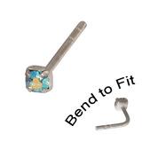 Crystal Nose Stud (Bend to fit) (ST11 ST12 ST13) 2.0mm Gem, Aqua AB, Single Bend-to-Fit Stud (ST12)