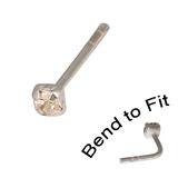 Crystal Nose Stud (Bend to fit) (ST11 ST12 ST13) 2.0mm Gem, Crystal Clear, Single Bend-to-Fit Stud (ST12)