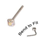 Crystal Nose Stud (Bend to fit) (ST11 ST12 ST13) 2.0mm Gem, Crystal AB, Single Bend-to-Fit Stud (ST12)