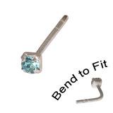 Crystal Nose Stud (Bend to fit) (ST11 ST12 ST13) 2.0mm Gem, Light Blue, Single Bend-to-Fit Stud (ST12)